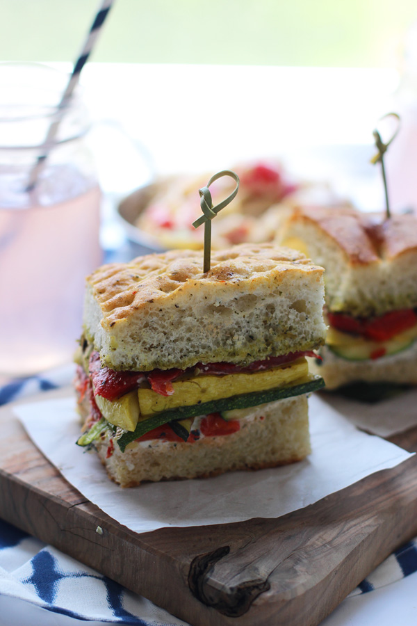 Grilled Veggie Sandwiches with Herbed Cream Cheese and Pesto via cookingforkeeps.com
