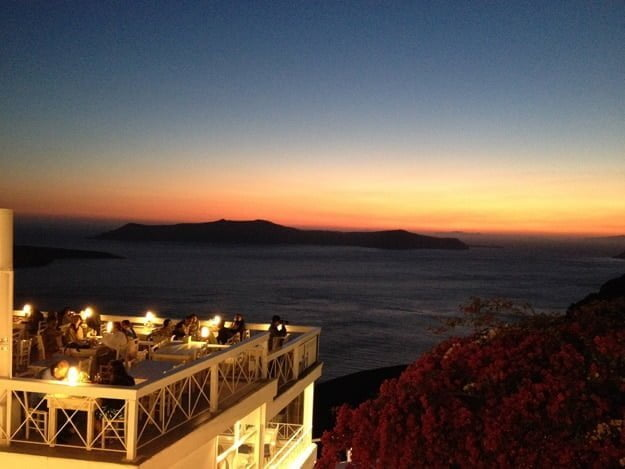 Fira Santorini Greece Sunset via cookingforkeeps.com