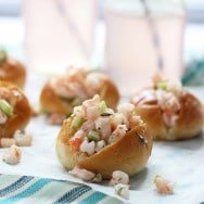 Mini Shrimp Rolls with Dill on Buttered Challah