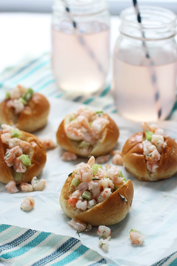 Mini Shrimp Rolls on Buttered Challah via cookingforkeeps.com