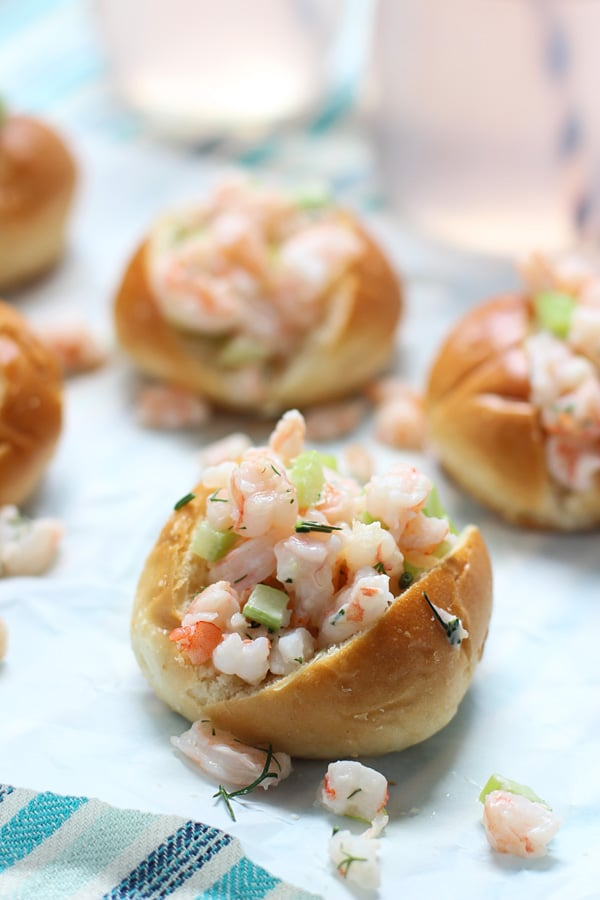 Mini Shrimp Rolls on Buttered Challah via cookingforkeeps.com