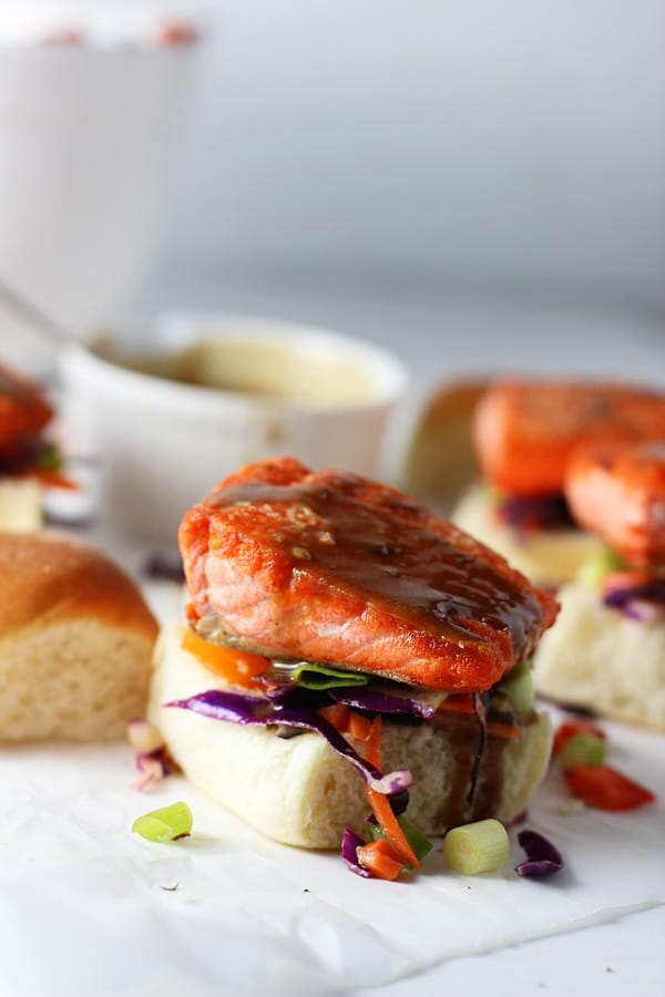 Salmon Sliders with (Epic!) Peanut Sauce and Asian Sesame Slaw via cookingforkeeps.com