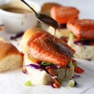 Salmon Sliders with Peanut Sauce and Seasme Slaw PS1