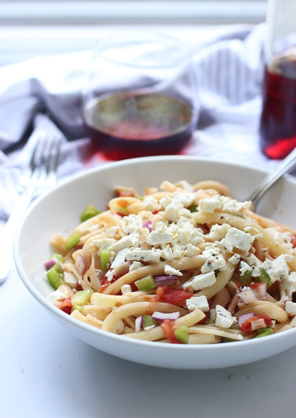 Greek Pasta With Tomatoes Wine And Feta