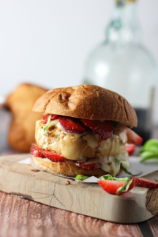 Strawberry, Basil Bacon and Brie Chicken Burgers 4