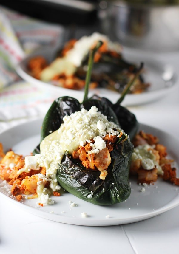 Baked Chile Rellenos with Homemade Turkey Chorizo and Poblano Cream Sauce
