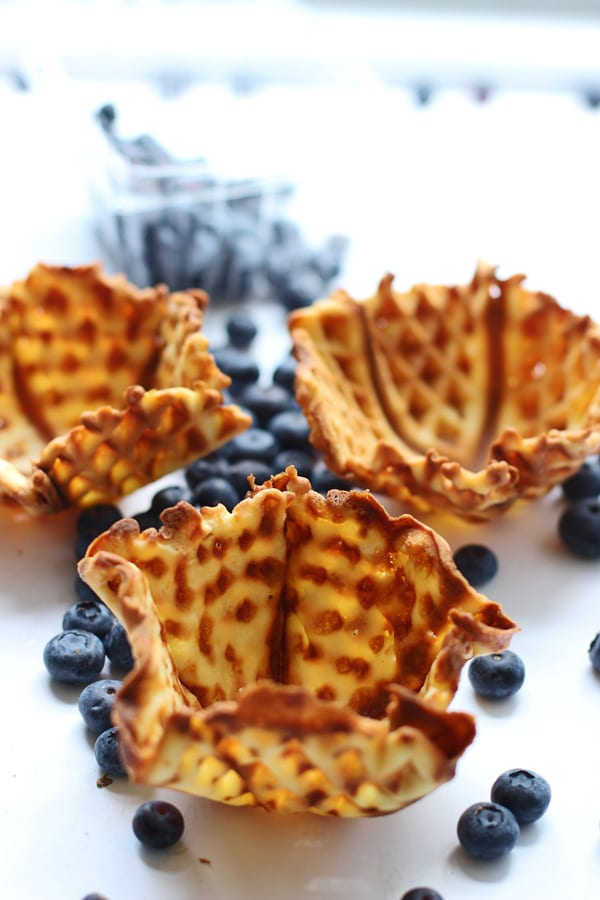 Blueberry Buttercookie Gelato with Homemade Sugar Waffle Bowls via cookingforkeeps.com