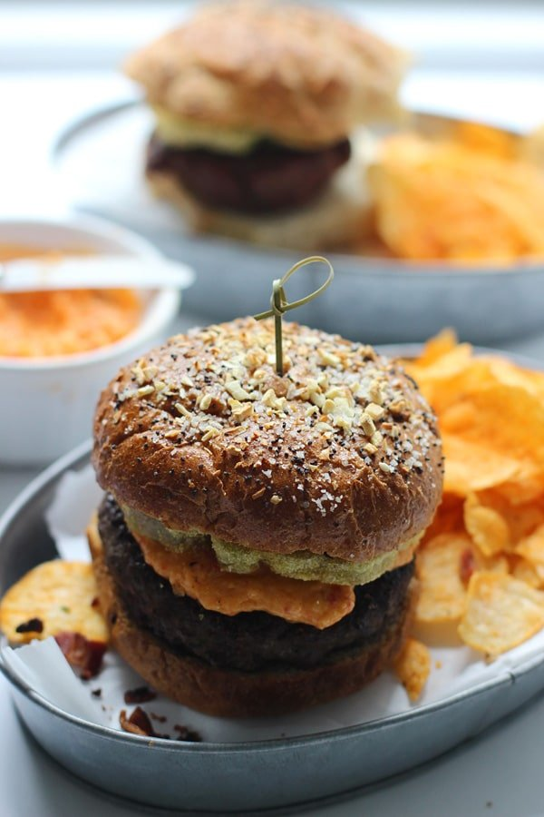 Fried Green Tomato and Pimento Cheese Burgers with Everything Whole-Wheat Buns 9