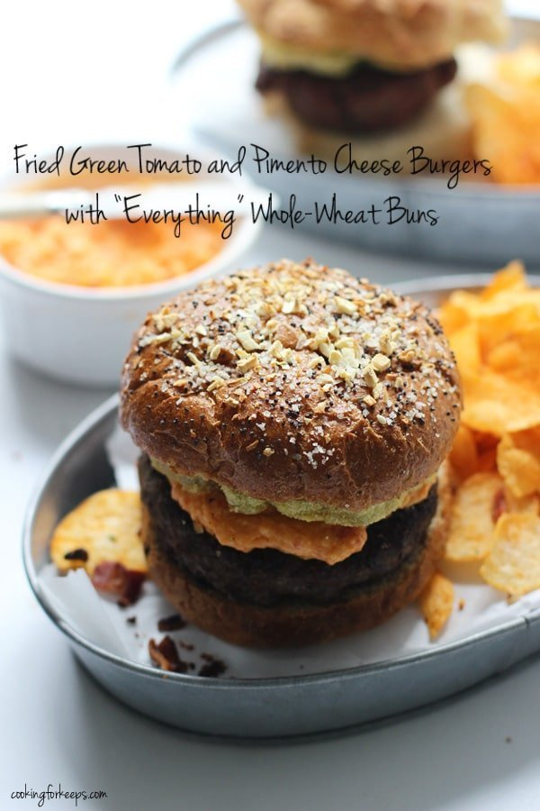 Fried Green Tomato and Pimento Cheese Burgers with Everything Whole-Wheat Buns Cover