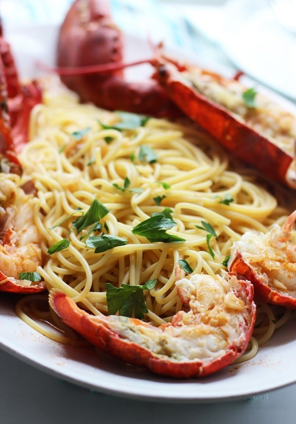 Lobster Spaghetti (Santorini Style) + A Giveaway!