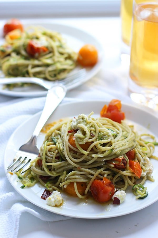 Whole-Wheat and Zucchini Spaghetti with Basil Almond Pesto, Blistered Tomatoes and Crispy Proscuitto 10