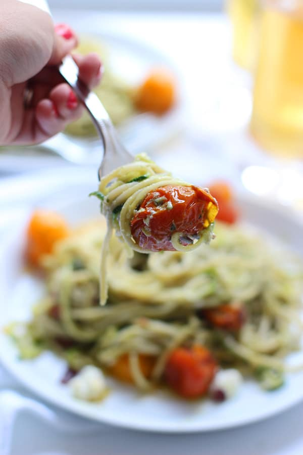 Whole-Wheat and Zucchini Spaghetti with Basil Almond Pesto, Blistered Tomatoes and Crispy Proscuitto 11