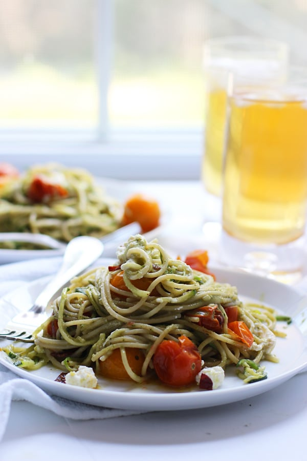 Whole-Wheat and Zucchini Spaghetti with Basil Almond Pesto, Blistered Tomatoes and Crispy Proscuitto 13