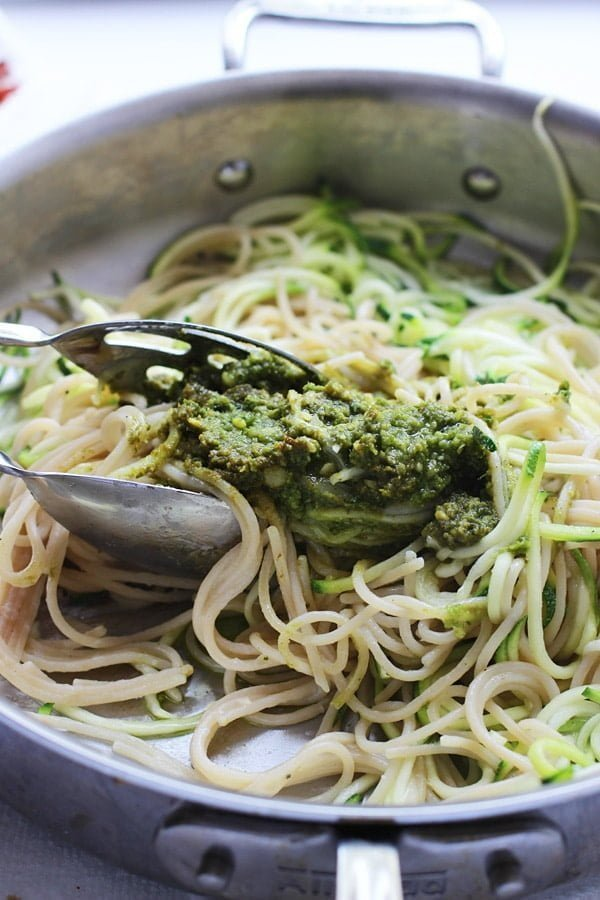 Whole-Wheat and Zucchini Spaghetti with Basil Almond Pesto, Blistered Tomatoes and Crispy Proscuitto 3