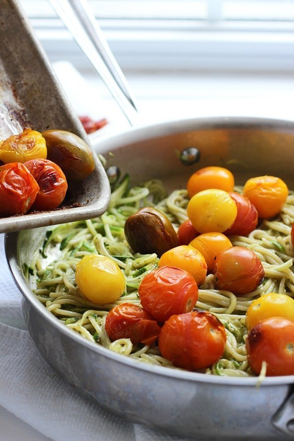 Whole-Wheat and Zucchini Spaghetti with Basil Almond Pesto, Blistered Tomatoes and Crispy Proscuitto 42