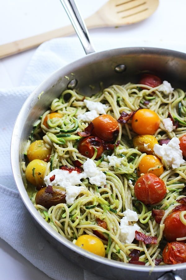 ... Basil Almond Pesto, Blistered Tomatoes and Ricotta - Cooking for Keeps