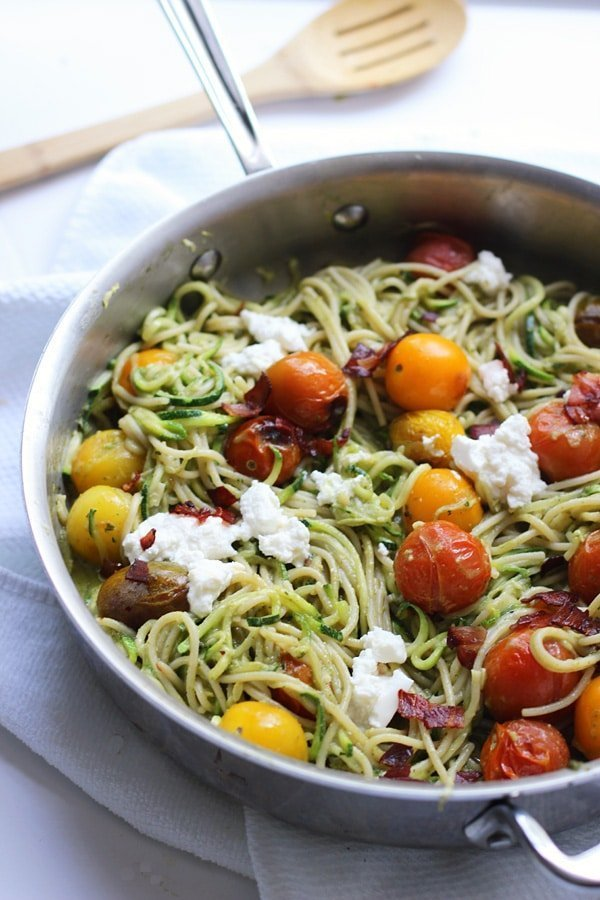 Whole-Wheat and Zucchini Spaghetti with Basil Almond Pesto, Blistered Tomatoes and Crispy Proscuitto 6_edited-1