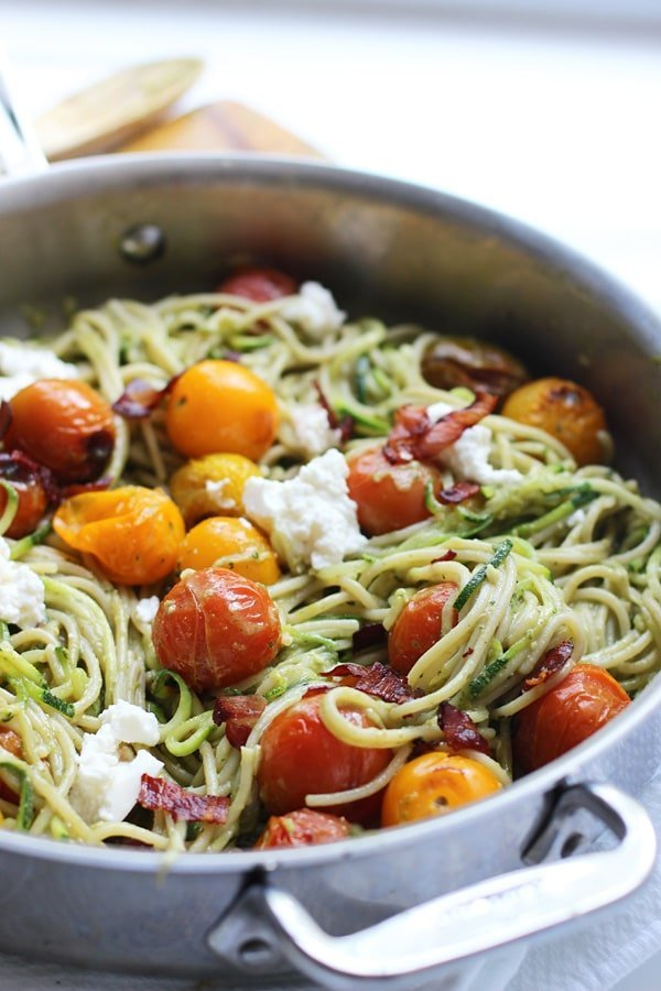 Whole-Wheat and Zucchini Spaghetti with Basil Almond Pesto, Blistered Tomatoes and Crispy Proscuitto 7
