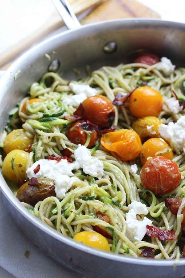 Whole-Wheat and Zucchini Spaghetti with Basil Almond Pesto, Blistered Tomatoes and Crispy Proscuitto 9