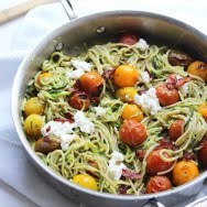 Whole-Wheat and Zucchini Spaghetti with Basil Almond Pesto, Blistered Tomatoes and Ricotta