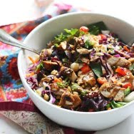 Chopped Spicy Chicken and Veggie Salad with Peanut Dressing