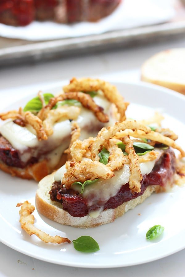 The Best Meatloaf + Meatloaf Sandwiches with Crispy Onions and Melted Mozzarella Cheese