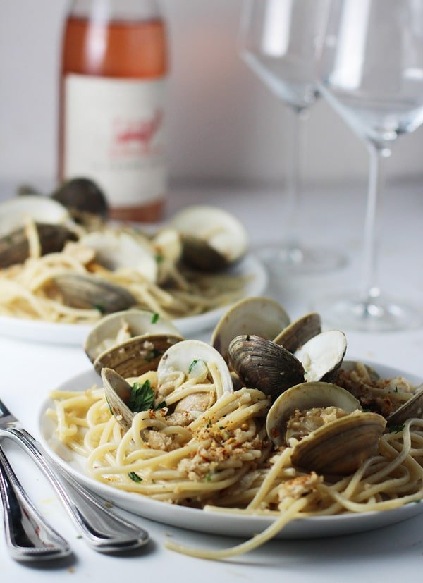 Spaghetti and Clams with Brown Butter and Garlic Breadcrumbs via cookingforkeeps.com