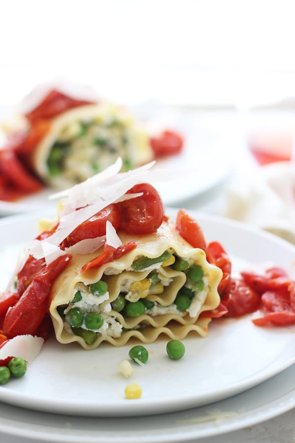 Veggie Lasagna Rolls with Homemade Ricotta and Burst Cherry Tomato Sauce via Cooking for Keeps