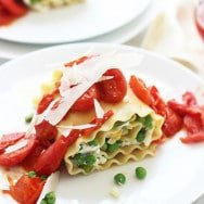 Veggie Lasagna Rolls with Homemade Ricotta and Burst Cherry Tomato Sauce