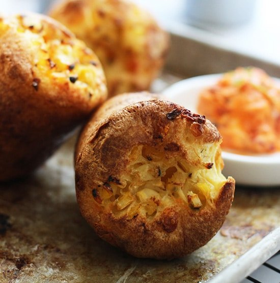 Charred Corn, Pancetta and Cheddar Popovers with Sun-Dried Tomato Butter PS2