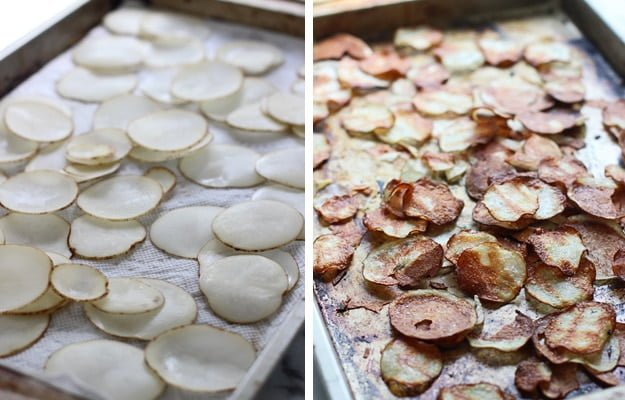 Crispy Baked Potato Chips with Garlic, Thyme and Parmesan + How to make the crispiest chips in the oven!