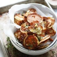 Crispy Baked Potato Chips with Garlic