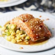 Honey Sesame Salmon with Corn and Hatch Pepper Sauté