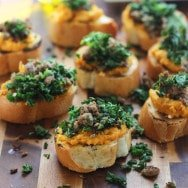 Whipped Ricotta and Butternut Squash Crostini with Kale and Italian Sausage