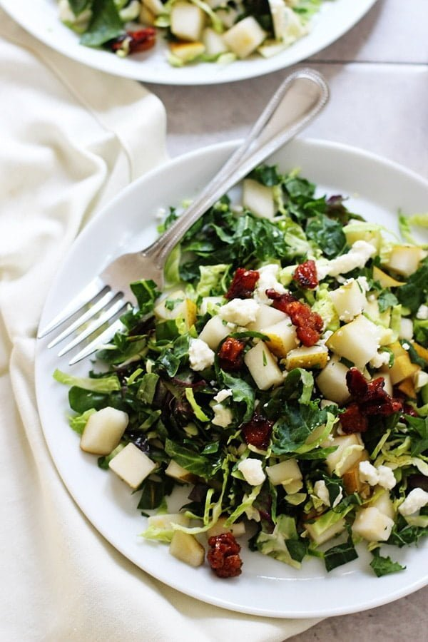 20 Non-Traditional Thanksgiving Sides: Brussels Sprout Salad with Pears, Candied Pancetta and Blue Cheese