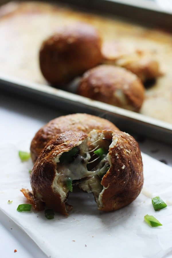 Philly Cheese Steak Pretzel Rolls