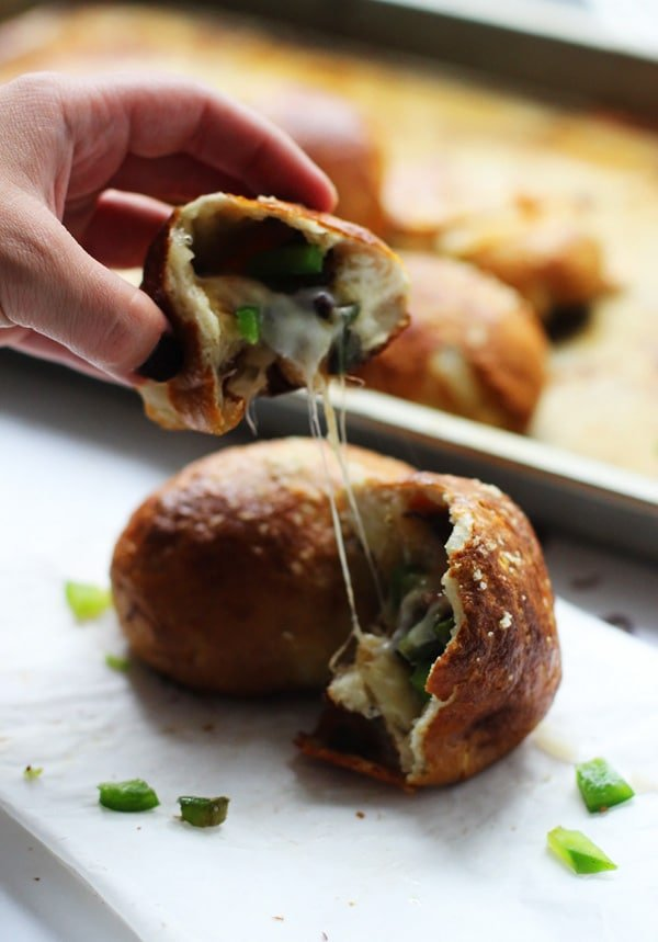 Philly Cheese Steak Pretzel Rolls - All your favorite Philly components stuffed in a pretzel roll!