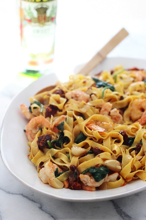 Shrimp Tagliatelle with Roasted Garlic, Sun-dried Tomatoes and Sweet Vermouth Cream Sauce 2