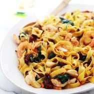 Shrimp Tagliatelle with Roasted Garlic, Sun-Dried Tomatoes and Sweet Vermouth Cream Sauce