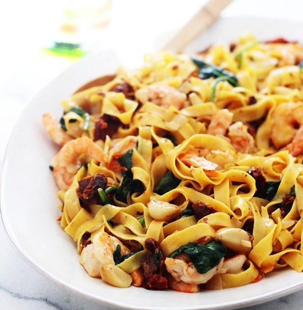 Shrimp Tagliatelle with Roasted Garlic, Sun-dried Tomatoes and Sweet Vermouth Cream Sauce PS1