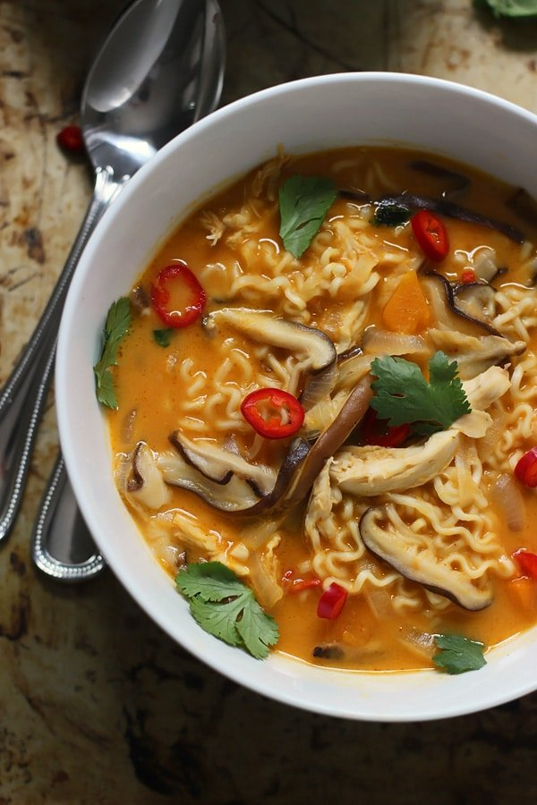 Spicy Thai-Style Pumpkin and Butternut Ramen - Homemade ramen that's easy and on the table in under 30 minutes.