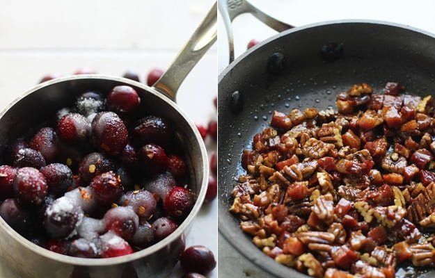 Bake Brie with Candied Pancetta, Pecans and Spicy Cranberries