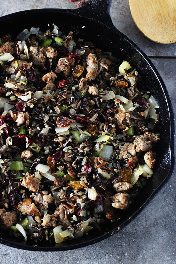 Italian Sausage, Cranberry and Wild Rice Stuffing | Cooking for Keeps #thanksgiving #sides #stuffing