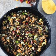 Wild Rice Stuffing with Turkey Italian Sausage, Cranberries and Hazelnuts