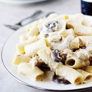 Creamy Fontina Rigatoni with Roasted Garlic, Portabellas and Pulled Chicken