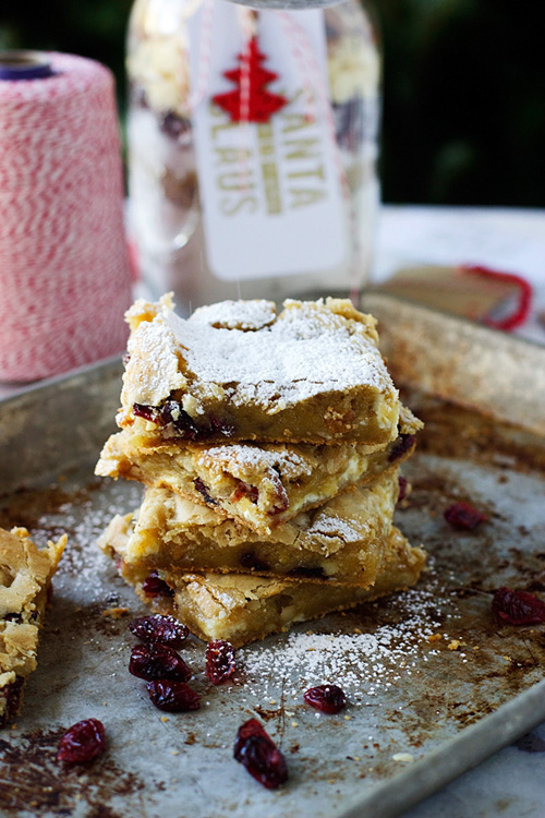 Gooey White Chocolate, Walnut and Cranberries Blondies
