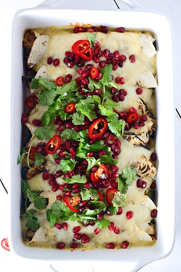 Sweet and Spicy Pomegranate and Poblano Chicken Enchiladas 4