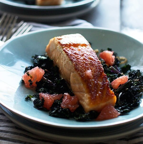 Pan-Roasted Salmon with Garlicky Kale and Citrus Vinaigrette PS1