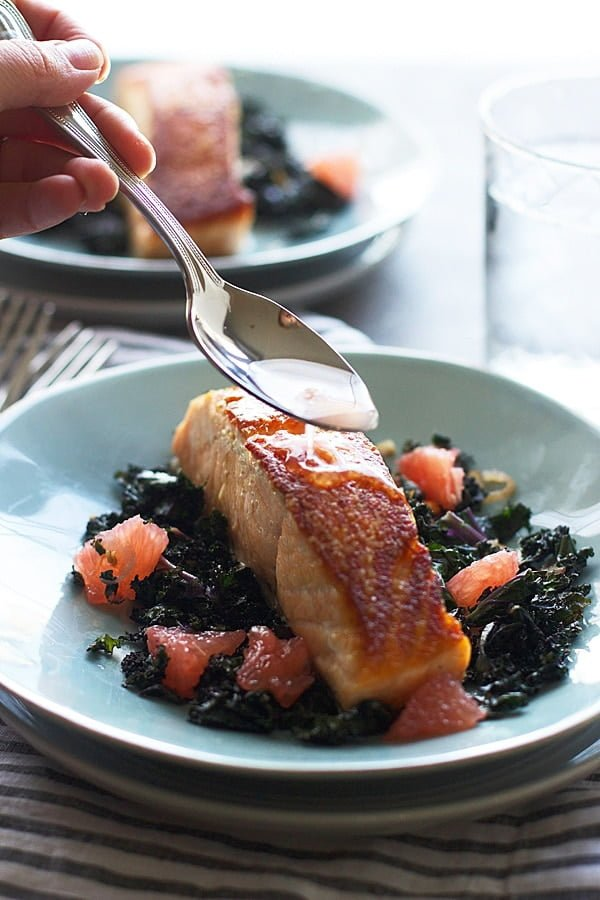 Pan Roasted Salmon With Garlicky Kale And Citrus Vinaigrette