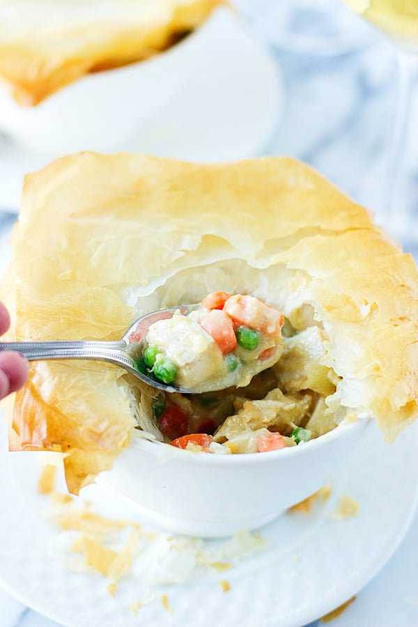 """Skinny Chicken and Vegetable Pot Pie with Phyllo """"Crust""""   cookingforkeeps.com"""
